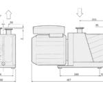 Wymiary próżniowej pompy rotacyjnej DS 302 Agilent Technologies